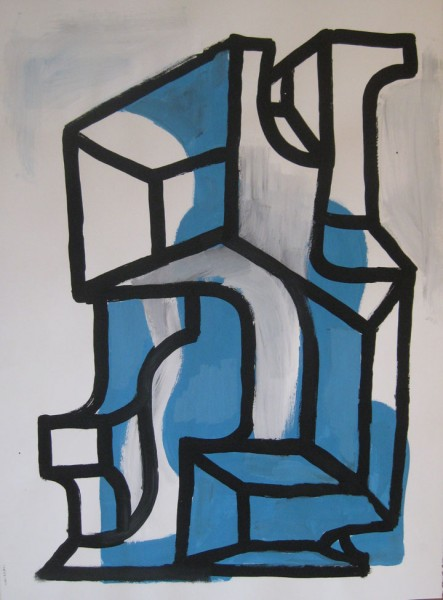 "Robert Egert, Forms#1, tempera on paper, approx. 27"" x 32"", 2011-2012"