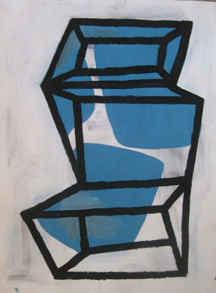 "Robert Egert, Forms#2, tempera on paper, approx. 27"" x 32"", 2011-2012"