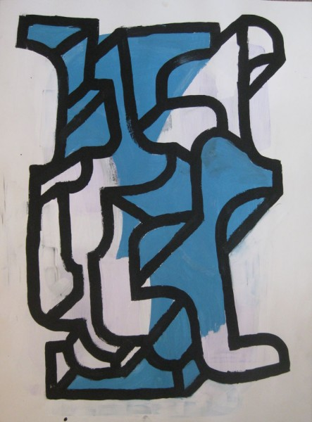 "Robert Egert, Forms #3, tempera on paper, approx. 27"" x 32"", 2011-2012"