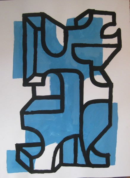 "Robert Egert, Forms #4, tempera on paper, approx. 27"" x 32"", 2011-2012"