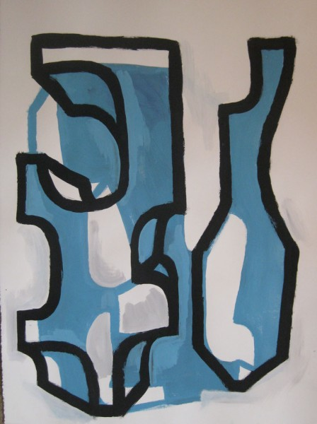 "Robert Egert, Forms #5, tempera on paper, approx. 27"" x 32"", 2011-2012"