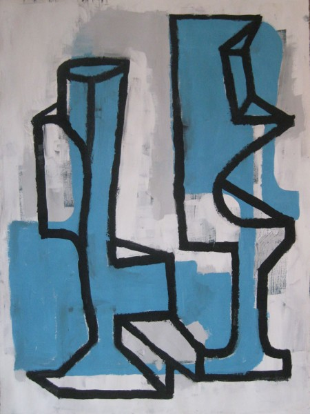 "Robert Egert, Forms #6, tempera on paper, approx. 27"" x 32"", 2011-2012"