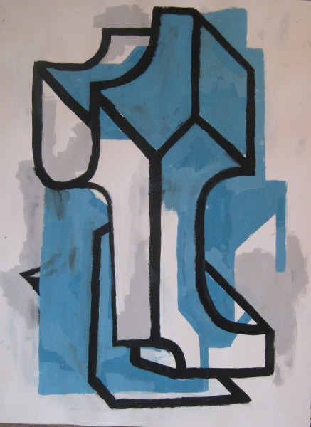 "Robert Egert, Forms #7, tempera on paper, approx. 27"" x 32"", 2011-2012"