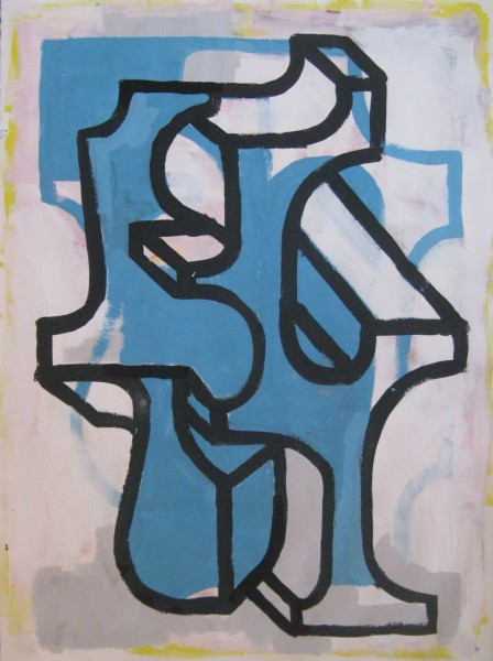"Robert Egert, Forms #8, tempera on paper, approx. 27"" x 32"", 2011-2012"