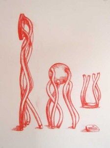 "Robert Egert, Untitled, conté on paper, 19"" x 27"", 2008"