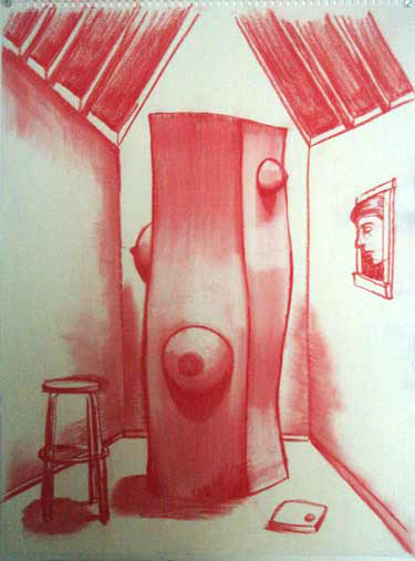 "Robert Egert, Unbuilt: Window Conté on paper, 23"" x 32"", 2008"