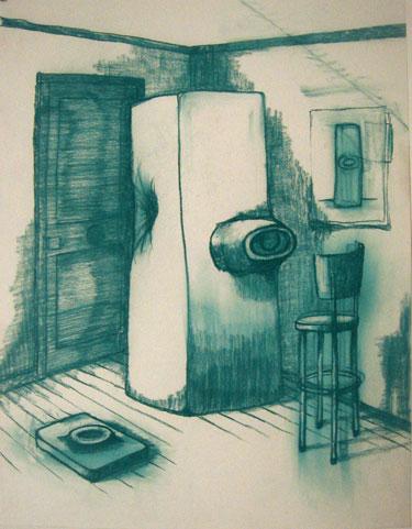 """Robert Egert, Unbuilt: Rue Des Martyr, Conté on paper, 23"""" x 32"""", 2008"""