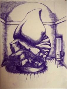 """Robert Egert, Unbuilt: Museum, Conté on paper, 23"""" x 32"""", 2008"""