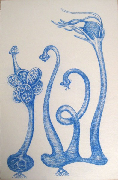 Blue conté on printmaking paper, 2011