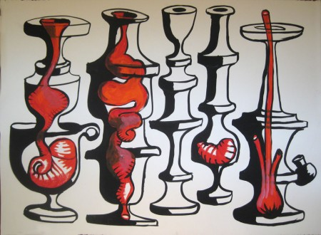 "Robert Egert, Vases No.1, 2012, 30"" x 22"" Tempera on printmaking paper"