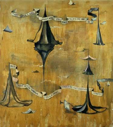 "Castle, Banners and Napkins; approx. 54"" x 68"" circa 1986, Robert Egert"