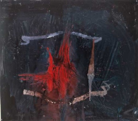 "Flaming Castel, oil on paper, approx. 32"" x 38"", circa 1985"