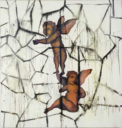 "Cracked Putti; oil on canvas, approx. 44"" x 46"" circa 1991"