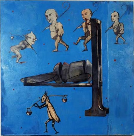 "Dwarf Puppet Execution by Guilotine; Oil and embedded charcoal on canvas, approx. 42"" x 42"" circa 1991 Robert Egert"