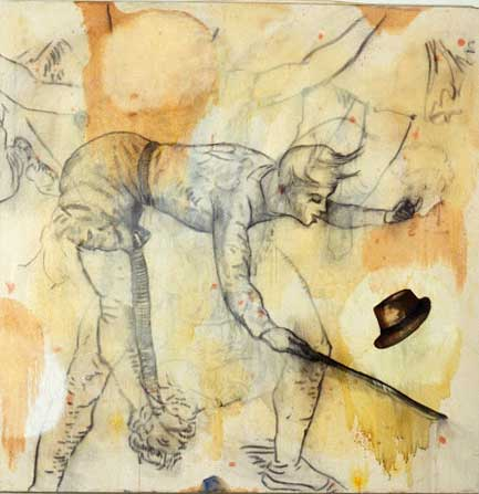 "Magic Hat Trick, Oil and bound charcoal on canvas, Approx. 50"" x 48"", circa 1990"