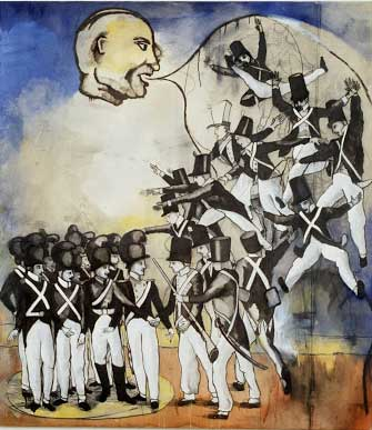 "Napoleonica, oil on canvas, approx. 48"" x 52"", circa 1989-1990, Robert Egert"