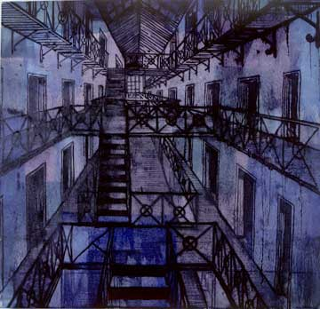 "Panopticon Prison; oil on canvas, approx. 44"" x 46"" circa 1991, Robert Egert"