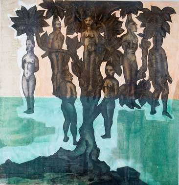 "People Tree, Oil and embedded charcoal on canvas, approx. 42"" x 42"" circa 1991 Robert Egert"