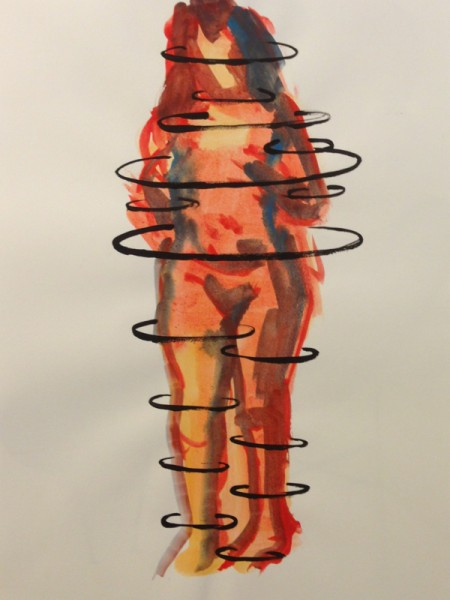 "Bound Woman, Gouache on Paper, 11"" x 17"" 2014"