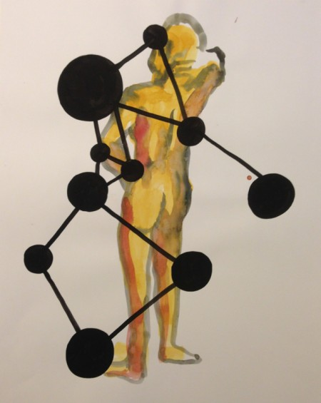 "Molecule, Gouache on Paper, 17"" x 23"" 2013"