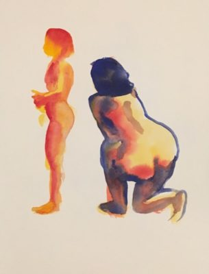 Two figures, one from behind, one facing painted in two minutes each on November 23 at the Jersey City Art School Figure drawing class by Robert Egert