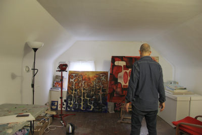 "Robert Egert photographed in his painting studio by Andre Smits as part of the ""Artist in the World"" project"