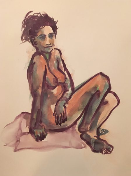 "Figure drawing of a nude seated woman with her hair tied up and twisting, seated on a square cushion, painted in gouache on watercolor paper, measuring 18"" x 24"" by Robert Egert in July, 2017"