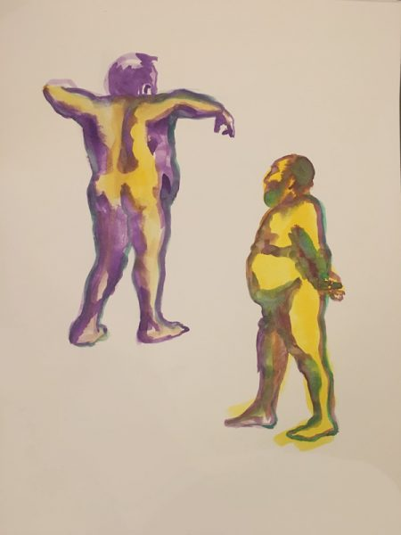 "Two nude male figures, gouache on watercolor paper, 18"" x 24"" painted in 2017 by Robert Egert"