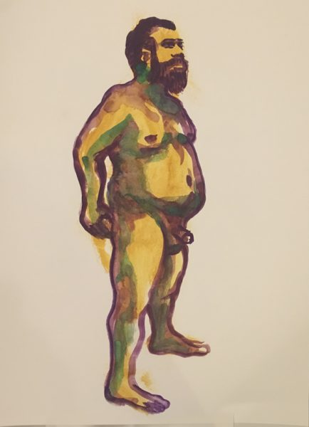 "Figure painting of a nude standing man, with his junk. Painted with gouache on watercolor paper, measuring 18"" x 24"", painted at Jersey City Art School Wednesday evening figure class organized by Joe Velez in July 2017 by Robert Egert"