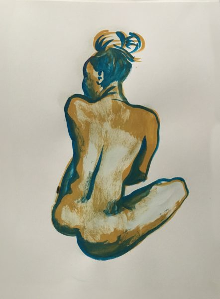 "Nude figure Painting of Woman with Turban, gouache on watercolor paper, 18"" x 24"" painted at Jersey City Art School, Jersey City NJ near Hamilton Park in July 2017 by Robert Egert"