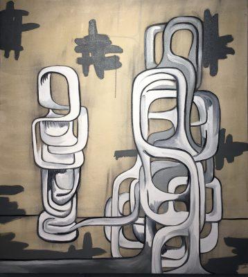 """Moi Aussie, Oil and Glue on Canvas, 38"""" x 42"""" Robert Egert, 2017"""