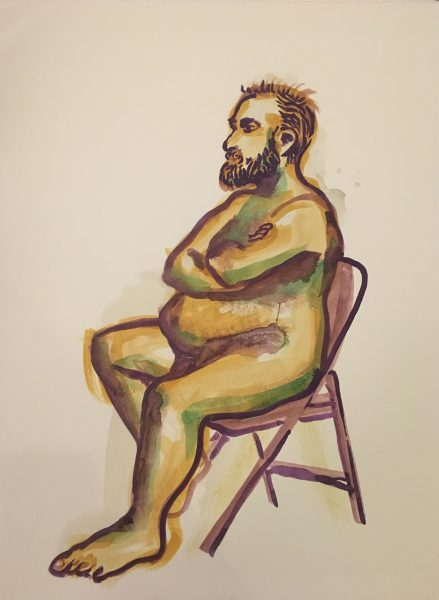 "Gouache painting of man seated on folding chair, painted on watercolor paper, 18"" x 24"", 2017 painted by Robert Egert at in Jersey City, NJ. Shared at Centotto in Autumn 2017. Currently available through Kim Weinberger gallery Kansas City or through the artist"