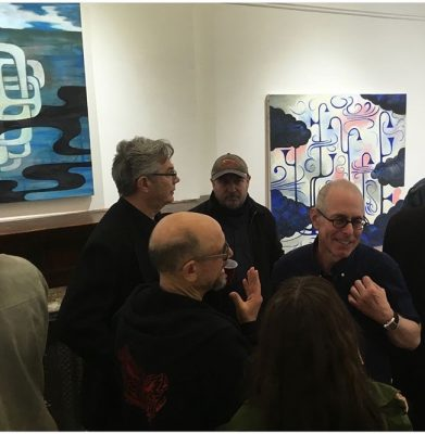 Photo from the opening night of Anthropocene, paintings by Robert Egert at SRO Gallery, 1144 Dean Street, Brooklyn, NY, including Steven Buckley, Greg Stone, David Brody and Robert Egert, April 28, 2018. IN the background is painting titled CIsgenia (2017) oil on canvas 48