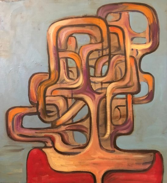 "Scientist painting by Robert Egert 2019, 24"" x 28"" oil on canvas"
