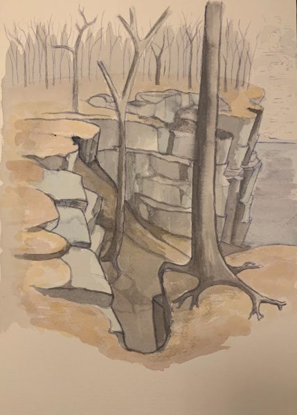 Cliff painting number 2 by Robert Egert, watercolor on paper, 2019. subject is the cliffs on the palisades overlooking the Hudson Rover a few miles north of New York City