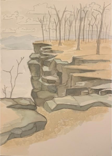 Cliff Painting number 3 by Robert Egert. Painted in watercolor from life at the cliffs overlooking the Hudson River in Palisades Interstate Park in Winter 2019.