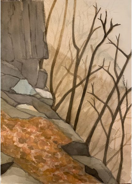 Cliff Painting number 6 by Robert Egert. Painted in watercolor from life at the cliffs overlooking the Hudson River in Palisades Interstate Park in Winter 2019.