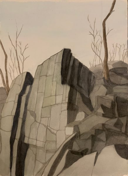 Cliff Painting of the Palisades Giant Steps overlooking the Hudson River, Painted in watercolor in 2019 by Robert Egert