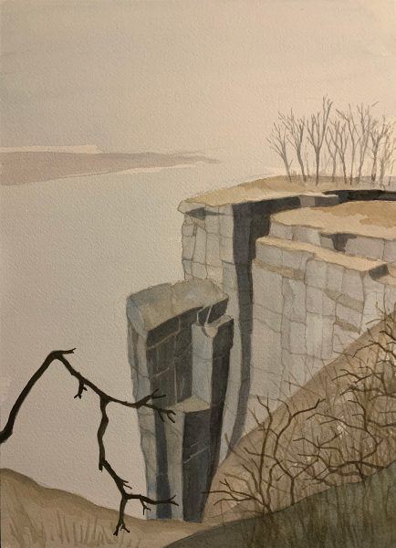 Cliffs No. 10 by Robert Egert, painted in Dec-Jan 2019-2020 in watercolor on paper, 26x36cm. Depicts the cliffs above the Hudson River looking south toward Manhattan.