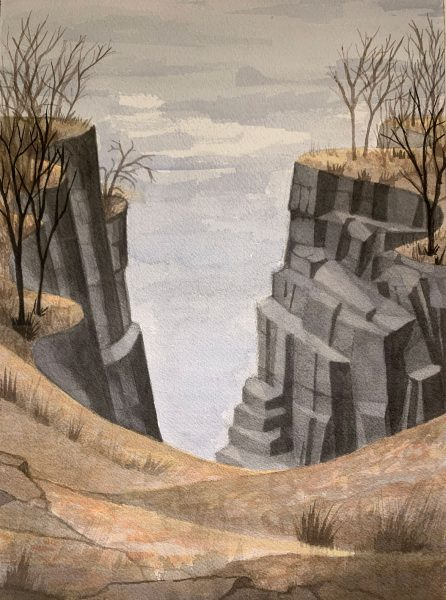 Painting by Robert Egert of the Palisades Cliffs overlooking the Hudson River . Watercolor on arches paper, 2020, 22.5cm x 32.5cm