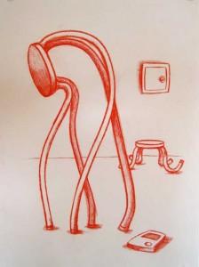 """Robert Egert, Untitled, conté on paper, 19"""" x 27"""", 2007"""